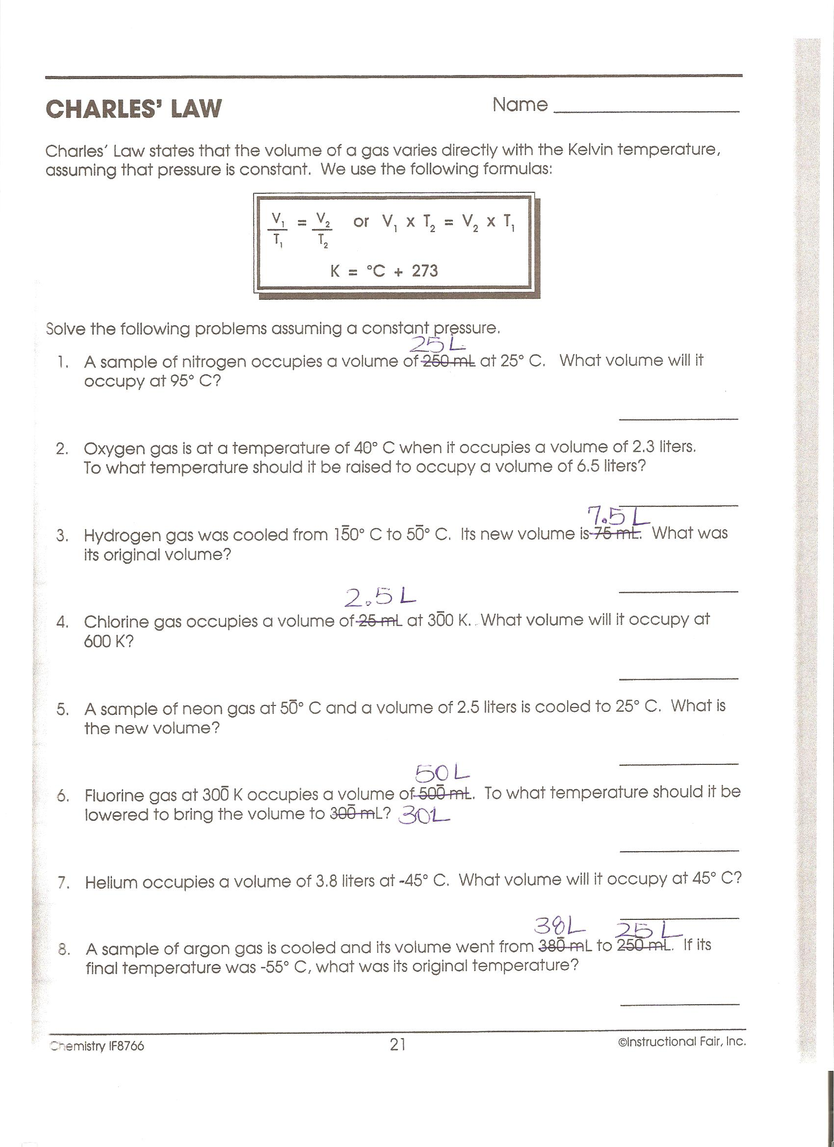 Printables Charles Law Worksheet boyles and charles law worksheet davezan davezan